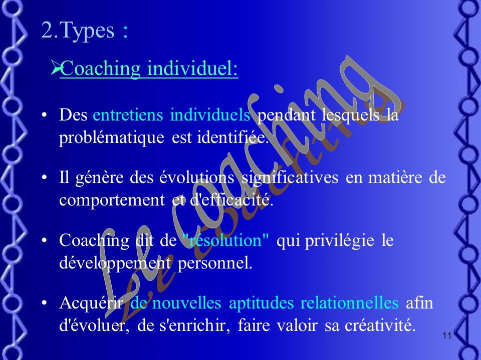 2.Types : Le coaching Coaching individuel: