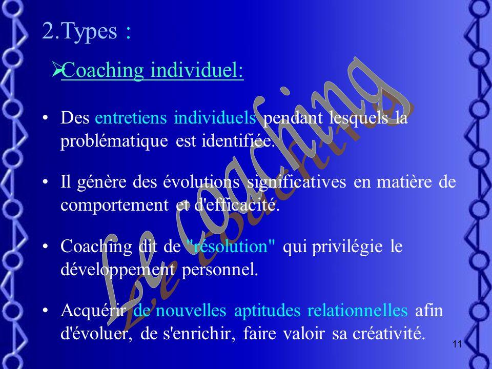 2.Types : Le coaching Coaching individuel:
