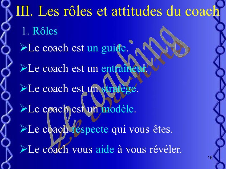 III. Les rôles et attitudes du coach