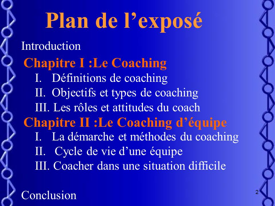 Plan de l'exposé Chapitre I :Le Coaching