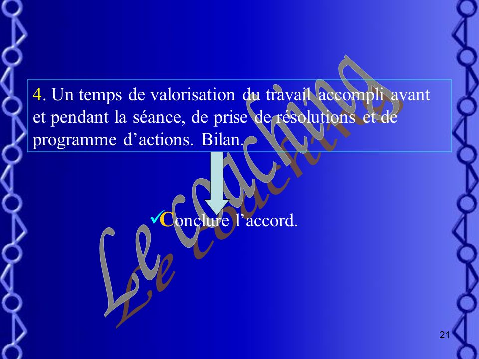 Le coaching Conclure l'accord.