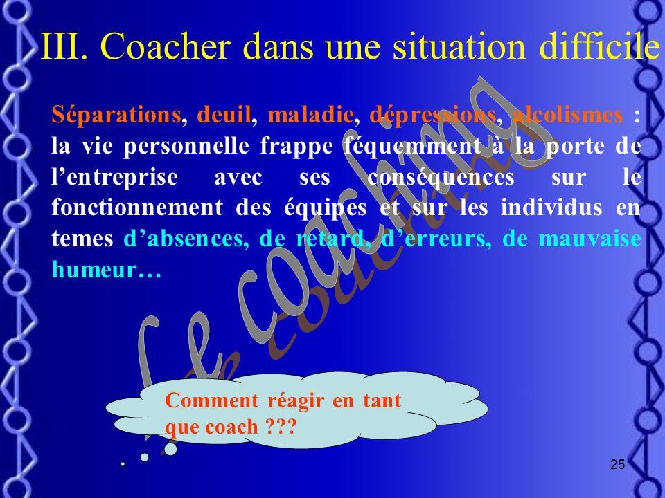 III. Coacher dans une situation difficile