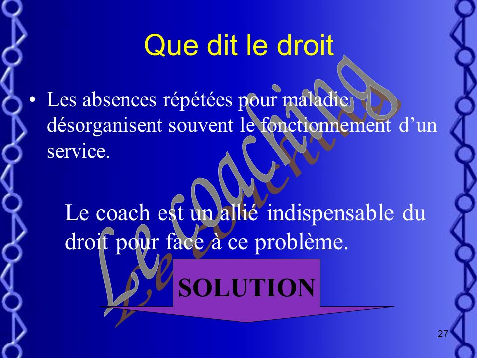 Que dit le droit SOLUTION Le coaching