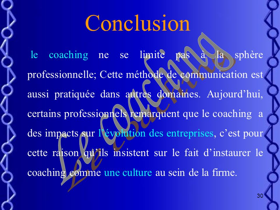 Conclusion Le coaching