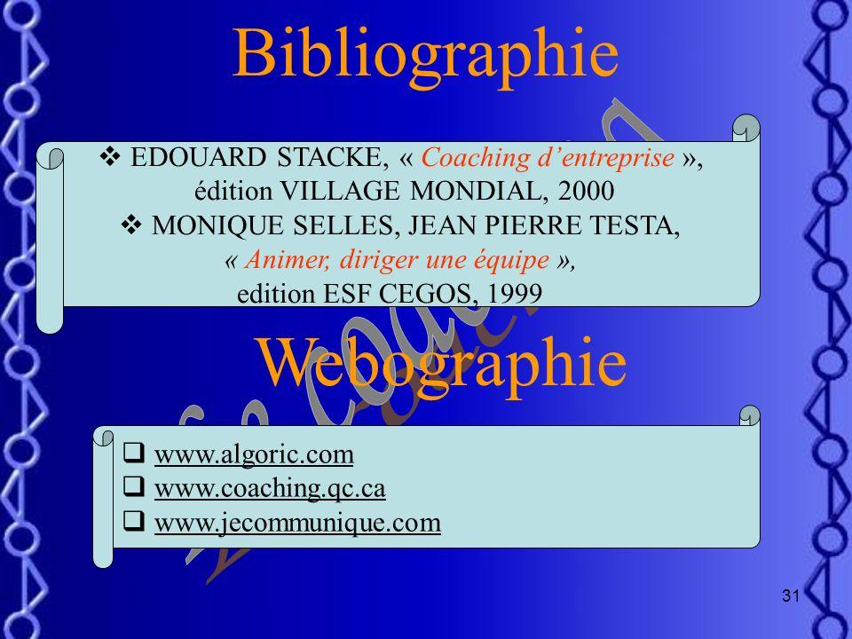 Bibliographie Webographie Le coaching