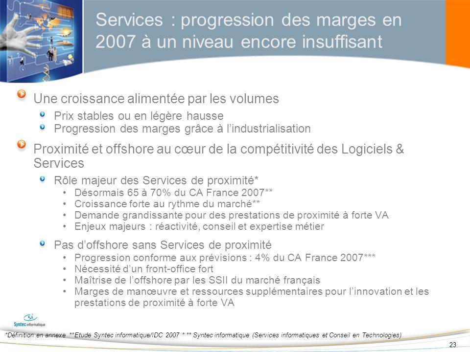 Services : progression des marges en 2007 à un niveau encore insuffisant