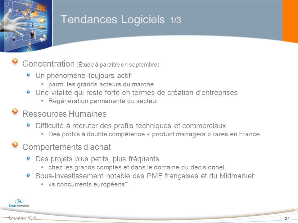 Tendances Logiciels 1/3 Concentration (Étude à paraître en septembre)