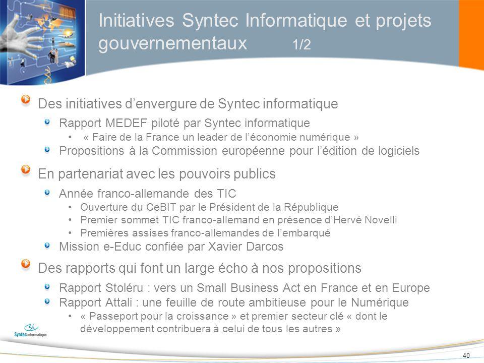 Initiatives Syntec Informatique et projets gouvernementaux 1/2