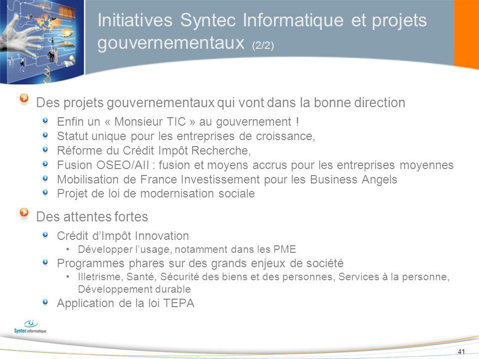 Initiatives Syntec Informatique et projets gouvernementaux (2/2)