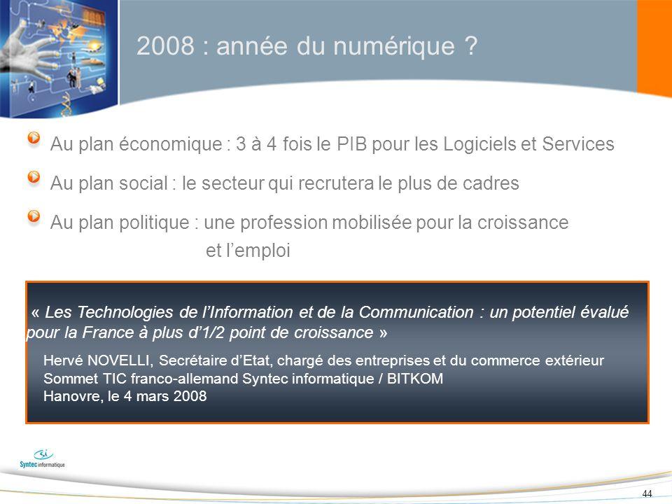 2008 : année du numérique Au plan économique : 3 à 4 fois le PIB pour les Logiciels et Services.