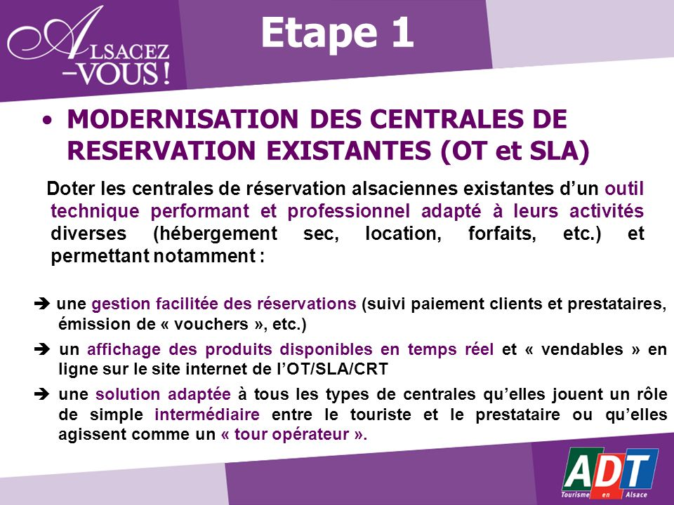 Etape 1 MODERNISATION DES CENTRALES DE RESERVATION EXISTANTES (OT et SLA)
