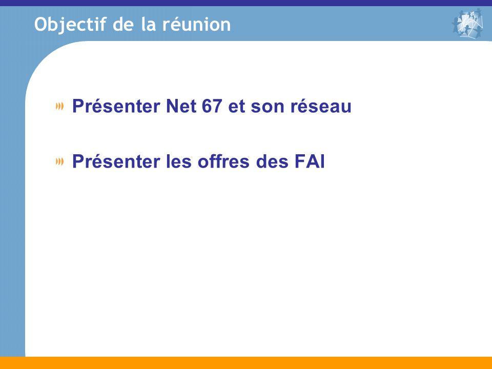 Objectif de la réunion Présenter Net 67 et son réseau Présenter les offres des FAI
