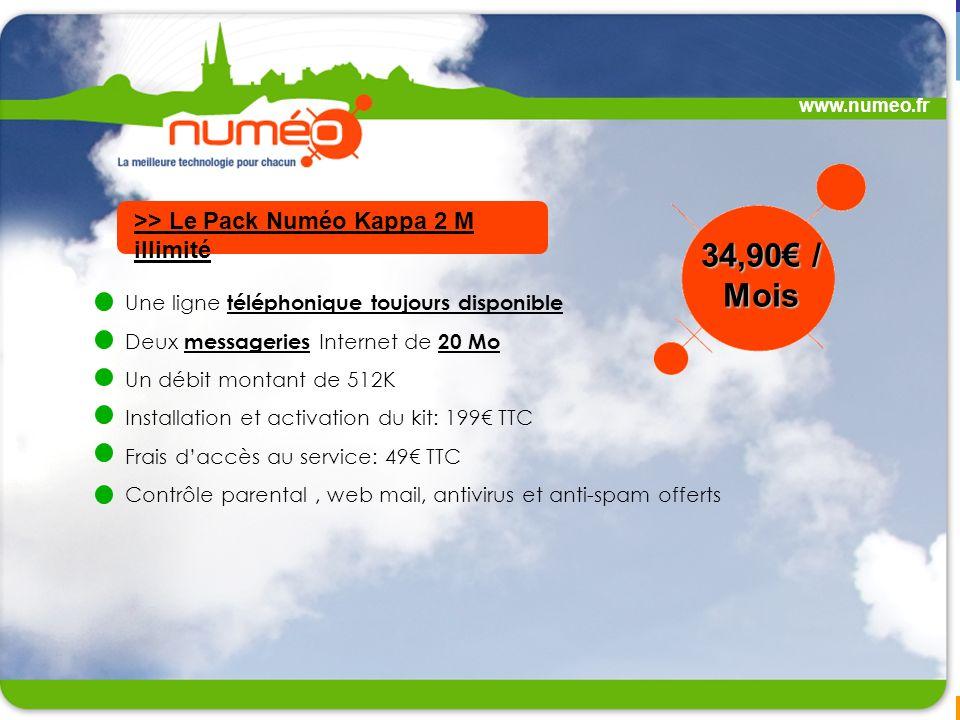 34,90€ / Mois >> Le Pack Numéo Kappa 2 M illimité