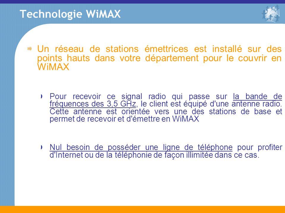Technologie WiMAXUn réseau de stations émettrices est installé sur des points hauts dans votre département pour le couvrir en WiMAX.