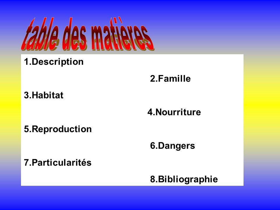 table des matières 1.Description 2.Famille 3.Habitat 4.Nourriture