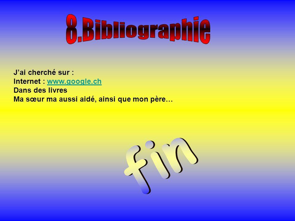 fin 8.Bibliographie J'ai cherché sur : Internet : www.google.ch