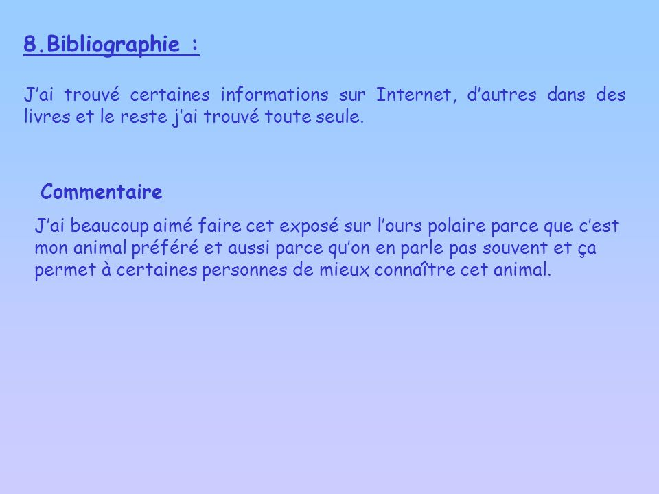 8.Bibliographie : Commentaire