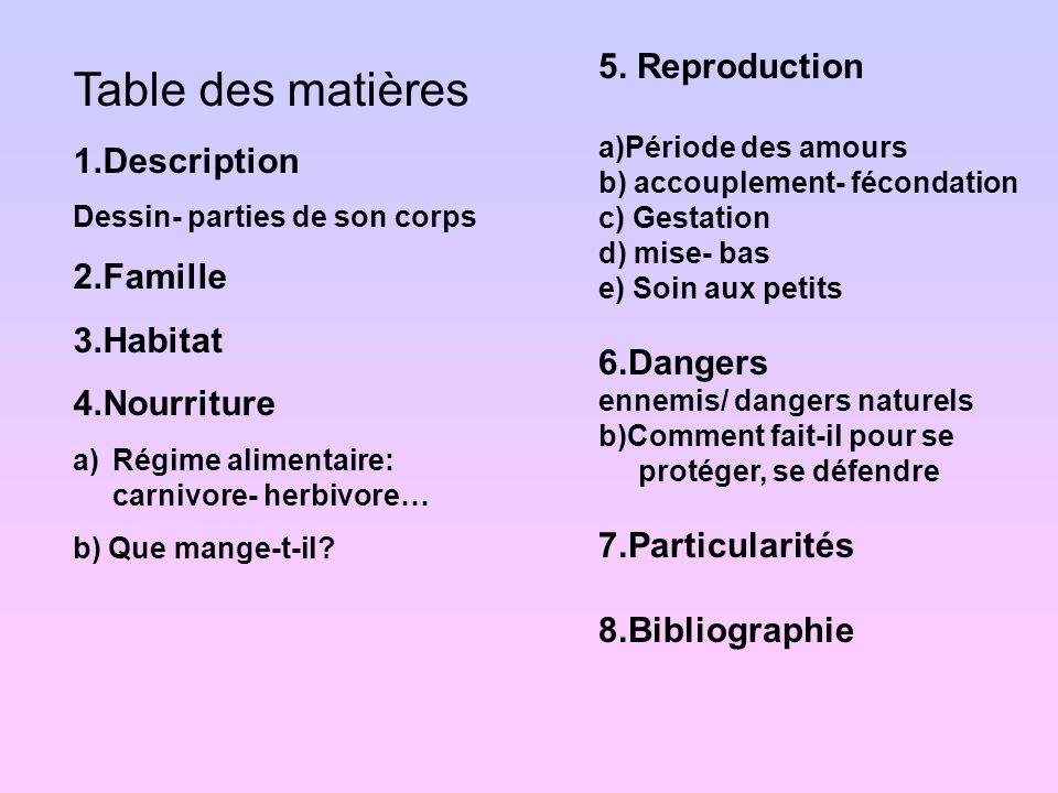 Table des matières 5. Reproduction 1.Description 2.Famille 3.Habitat