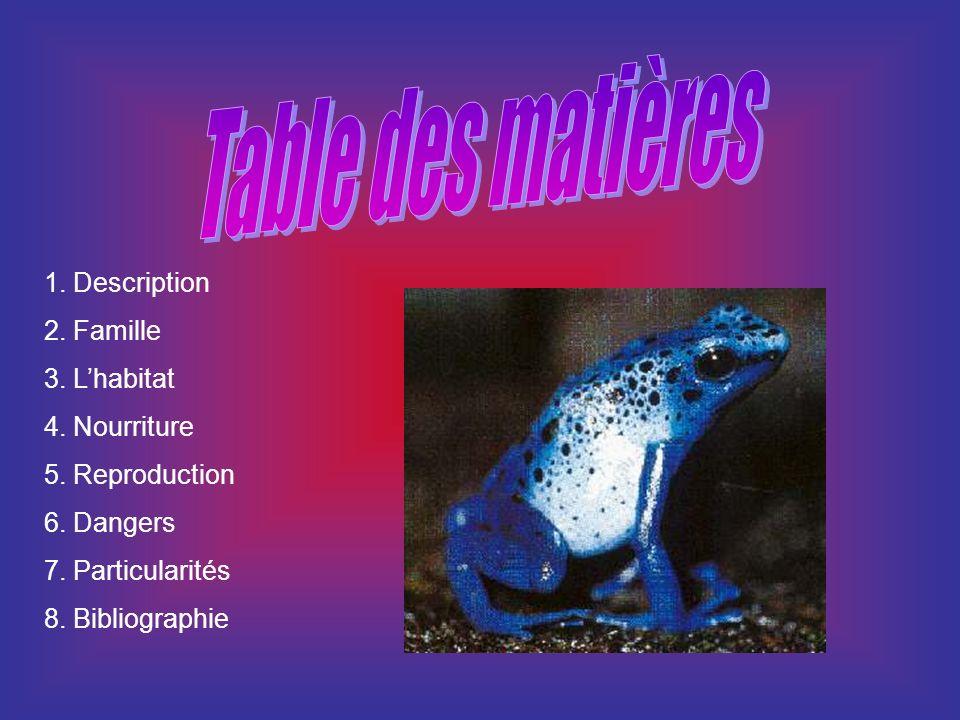Table des matières 1. Description 2. Famille 3. L'habitat