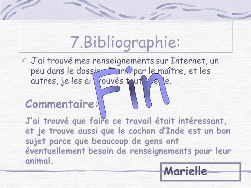 7.Bibliographie: Fin Commentaire: Marielle
