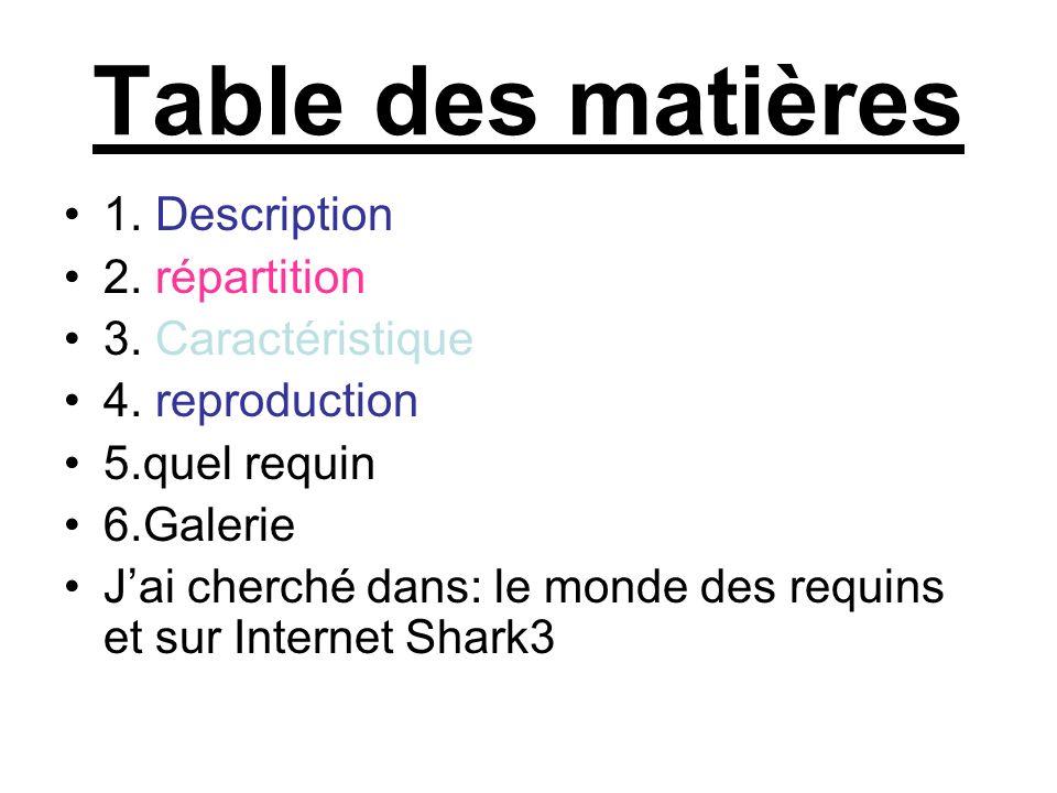 Table des matières 1. Description 2. répartition 3. Caractéristique