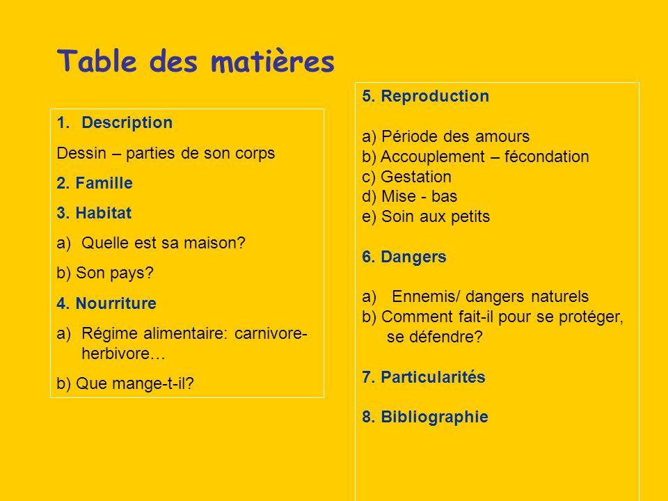 Table des matières 5. Reproduction a) Période des amours Description