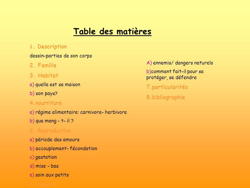 Table des matières 2. Famille 3. Habitat 4.nourriture 7.particularités