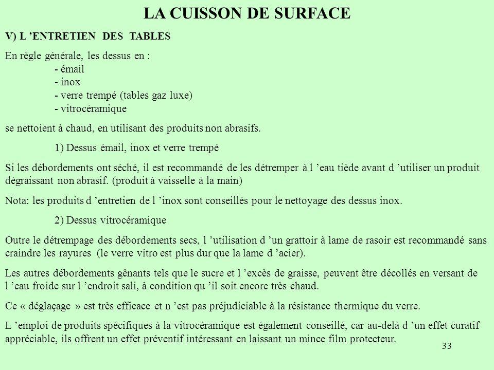 LA CUISSON DE SURFACE V) L 'ENTRETIEN DES TABLES