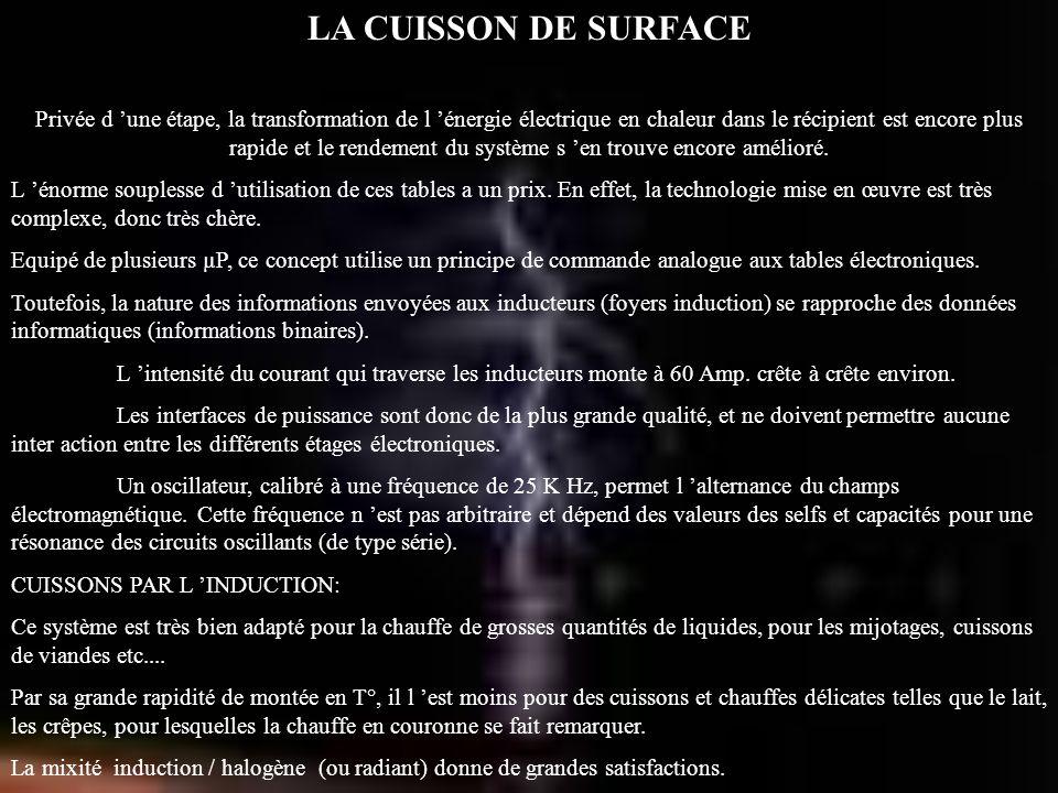 LA CUISSON DE SURFACE