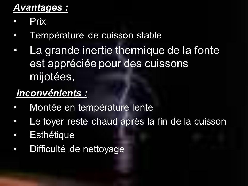 Avantages :Prix. Température de cuisson stable. La grande inertie thermique de la fonte est appréciée pour des cuissons mijotées,