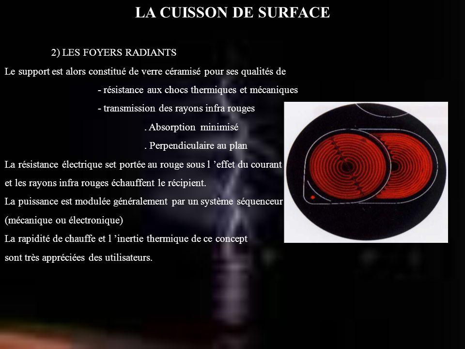 LA CUISSON DE SURFACE 2) LES FOYERS RADIANTS