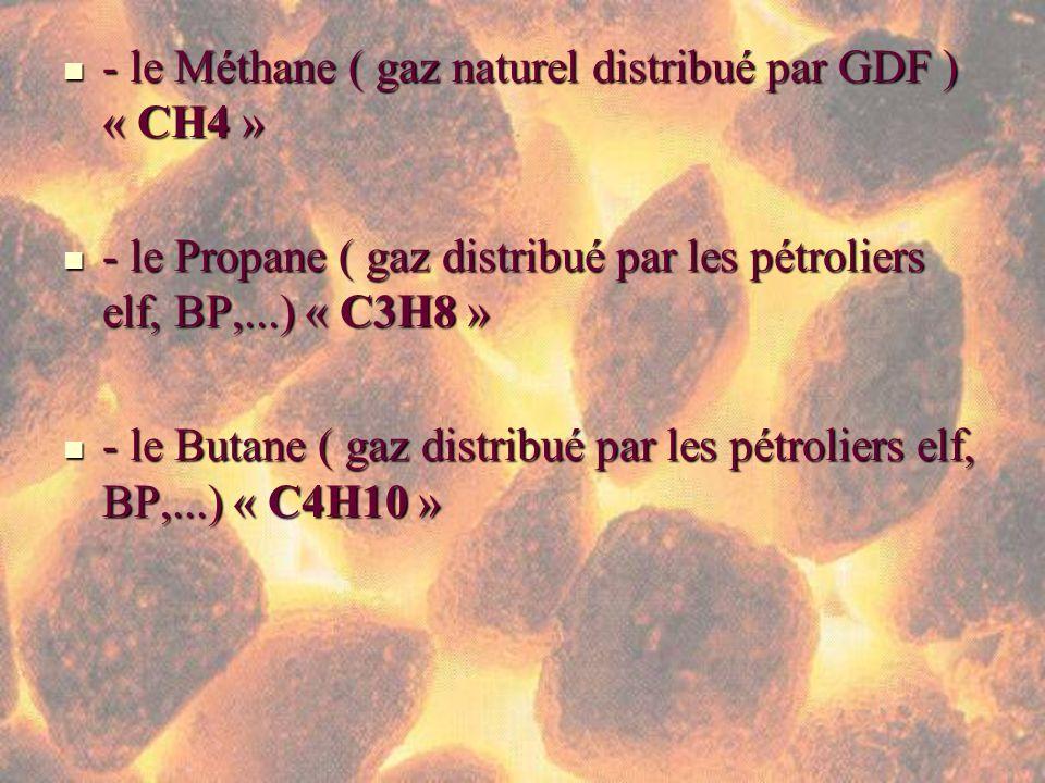 - le Méthane ( gaz naturel distribué par GDF ) « CH4 »