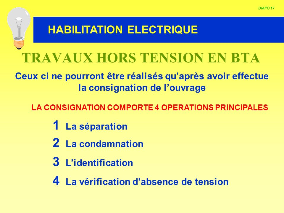 TRAVAUX HORS TENSION EN BTA