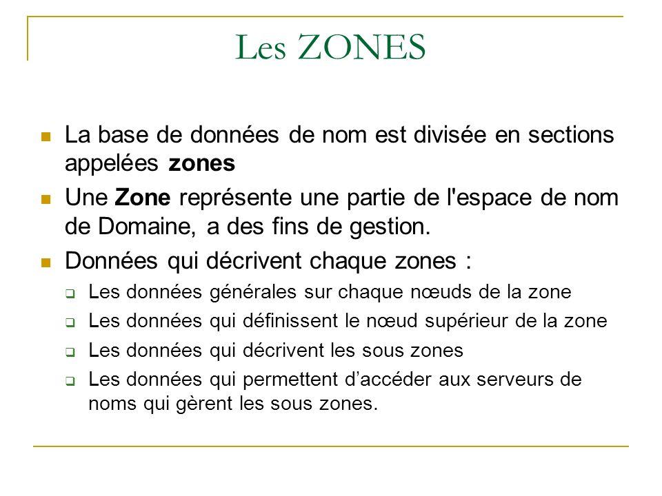 Les ZONES La base de données de nom est divisée en sections appelées zones.
