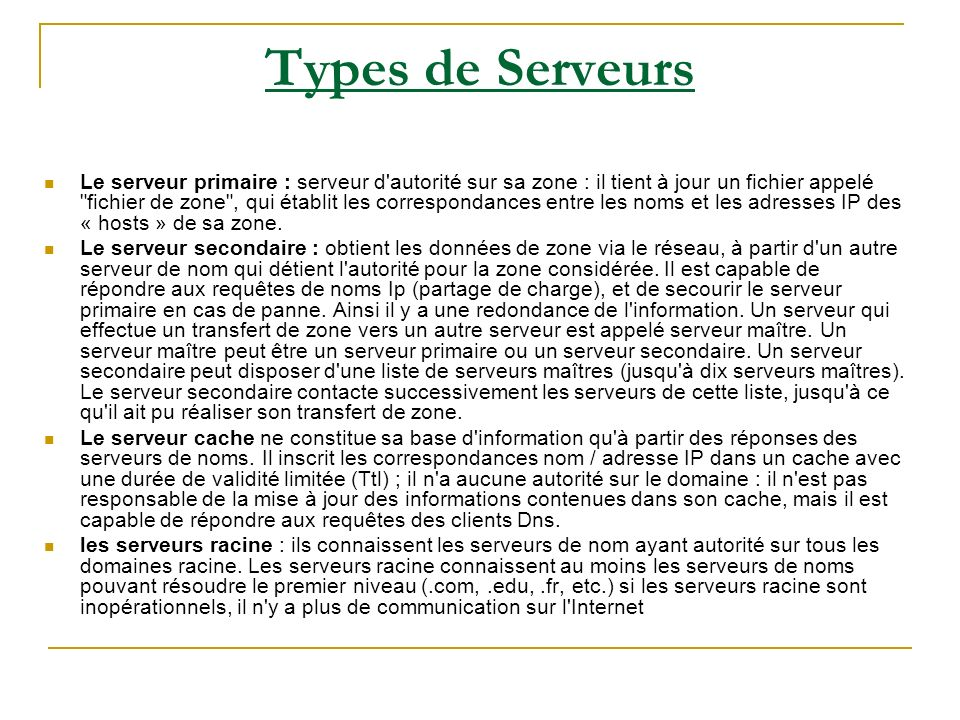Types de Serveurs