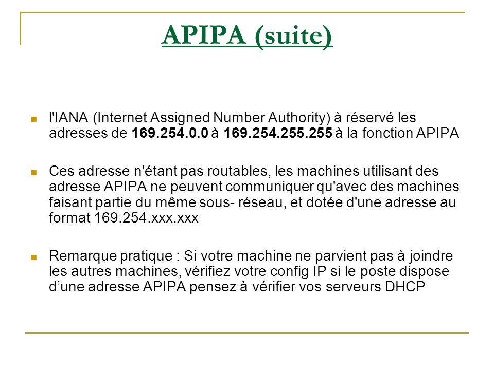APIPA (suite) l IANA (Internet Assigned Number Authority) à réservé les adresses de 169.254.0.0 à 169.254.255.255 à la fonction APIPA.