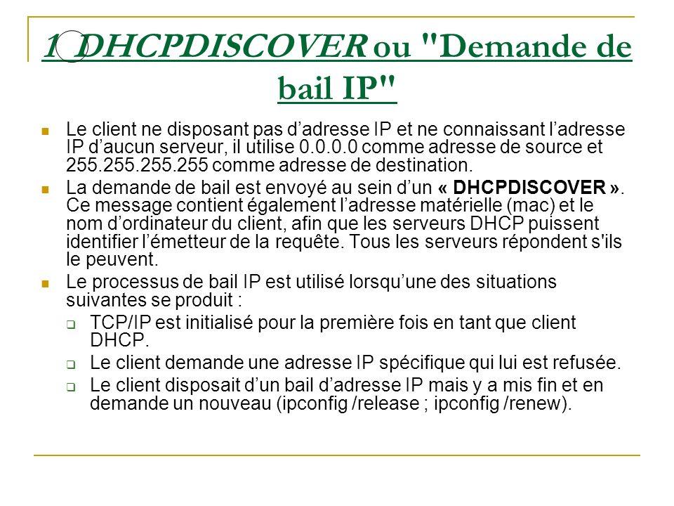 1 DHCPDISCOVER ou Demande de bail IP