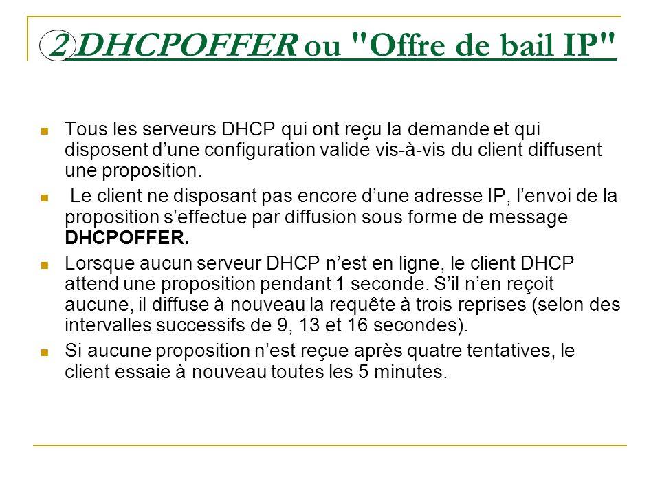 2 DHCPOFFER ou Offre de bail IP