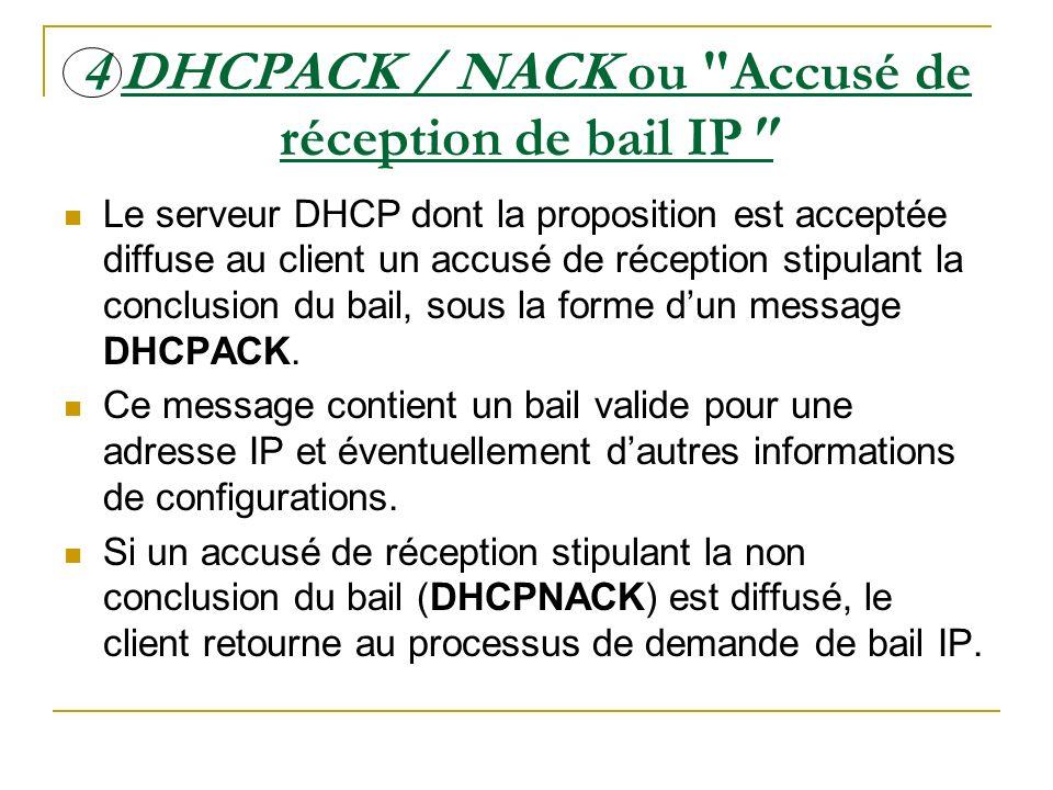 4 DHCPACK / NACK ou Accusé de réception de bail IP