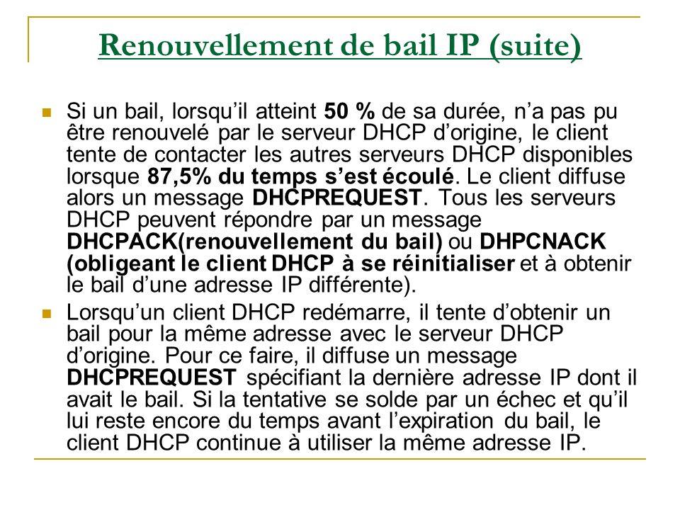 Renouvellement de bail IP (suite)