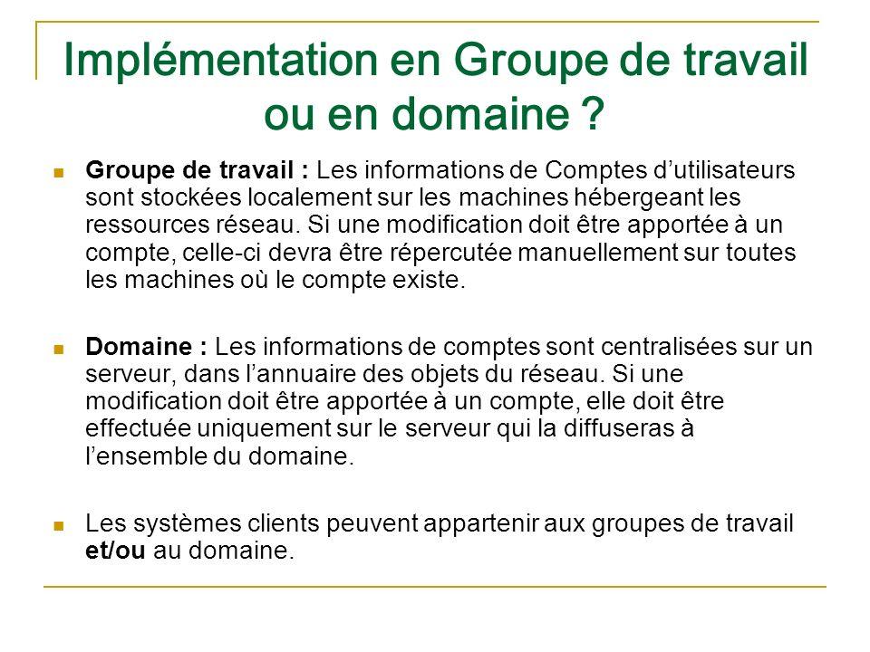 Implémentation en Groupe de travail ou en domaine
