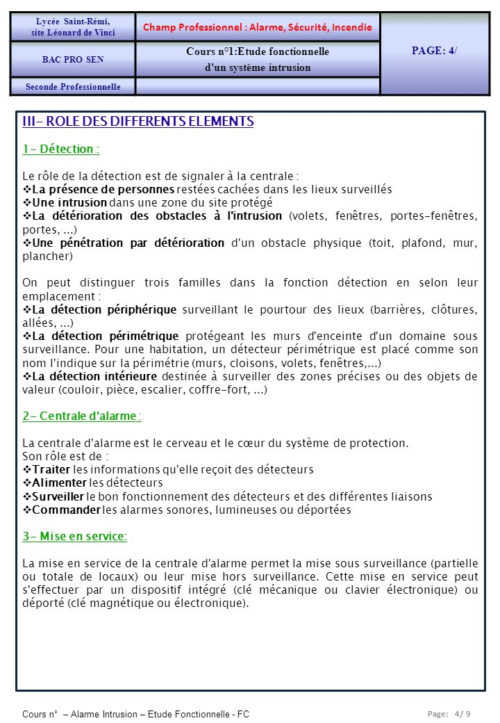 III- ROLE DES DIFFERENTS ELEMENTS