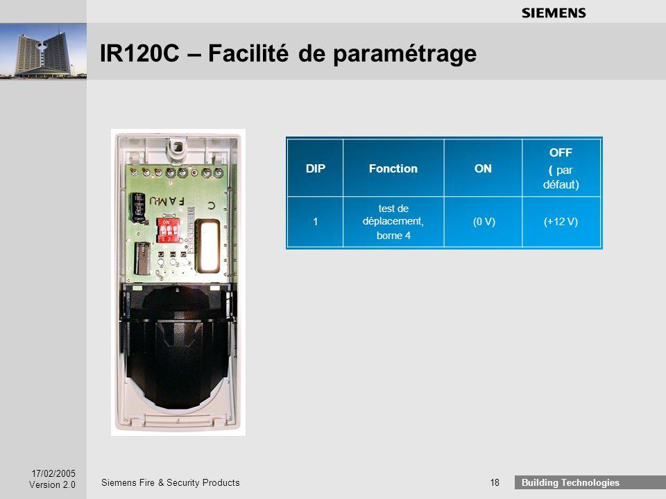 IR120C – Facilité de paramétrage