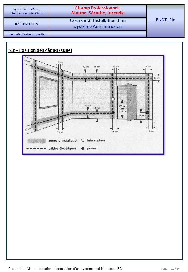 Alarme, Sécurité, Incendie PAGE: 10/ Cours n°3: Installation d un