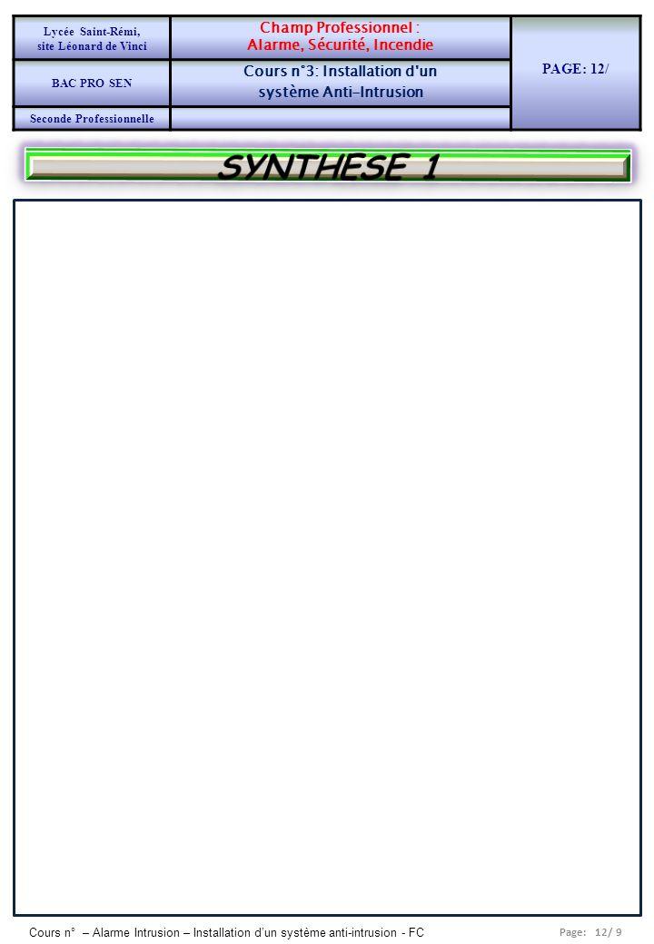 SYNTHESE 1 PAGE: 12/ Champ Professionnel : Alarme, Sécurité, Incendie