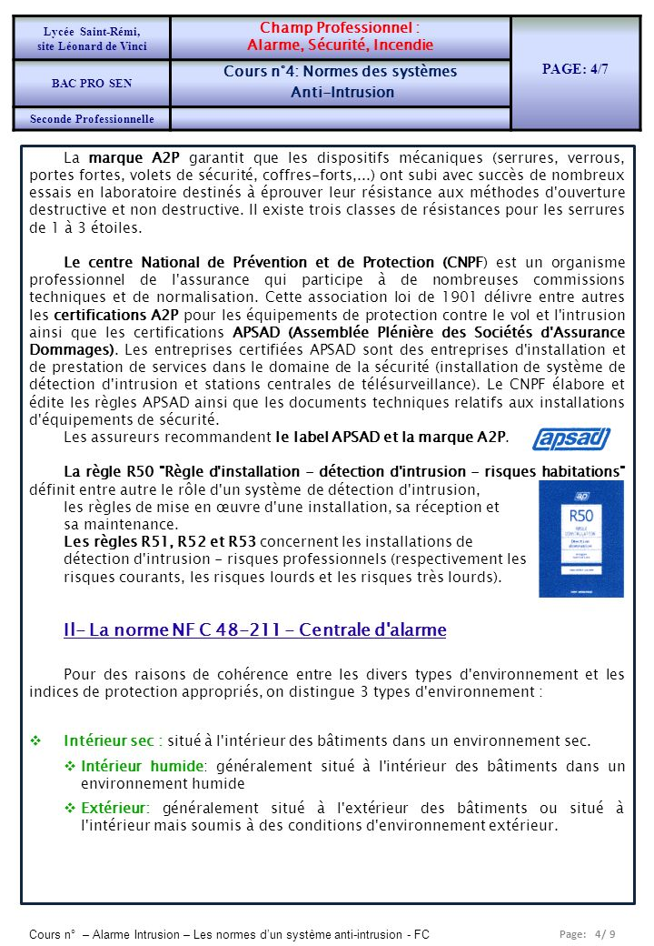 Il- La norme NF C 48-211 - Centrale d alarme