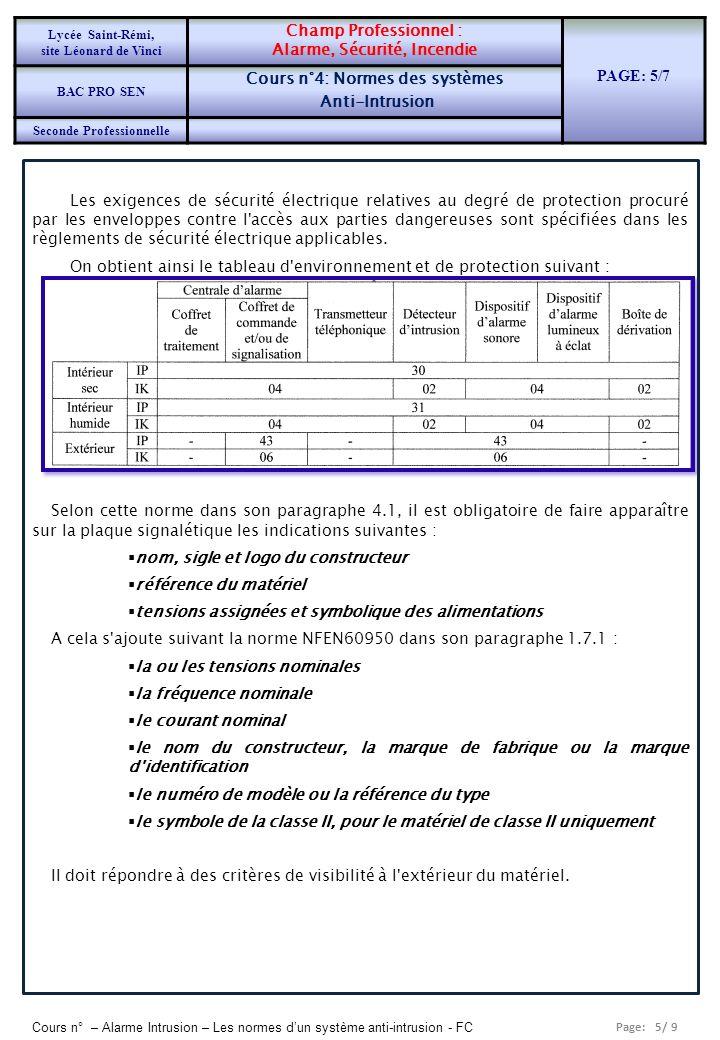 Alarme, Sécurité, Incendie PAGE: 5/7 Cours n°4: Normes des systèmes
