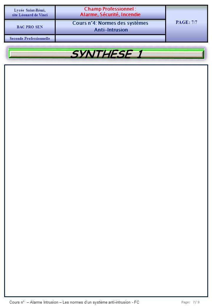 SYNTHESE 1 PAGE: 7/7 Champ Professionnel : Alarme, Sécurité, Incendie