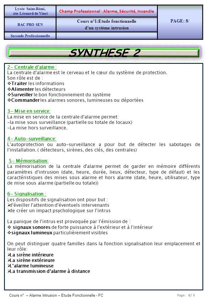 SYNTHESE 2 Champ Professionnel : Alarme, Sécurité, Incendie PAGE: 8/