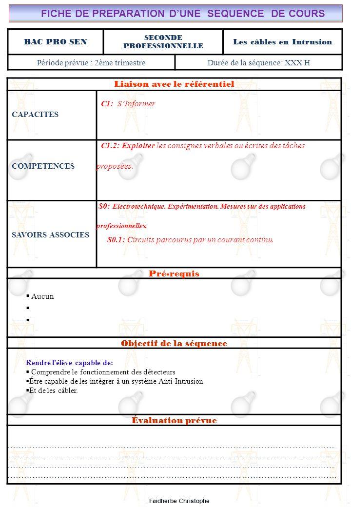 FICHE DE PREPARATION D'UNE SEQUENCE DE COURS Les câbles en Intrusion